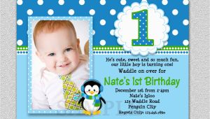E Invites for First Birthday Penguin Birthday Invitation Penguin 1st Birthday Party Invites