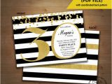 Editable 30th Birthday Invitations 30th Birthday Invitation Black White Stripe Gold Glitter