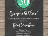 Editable 30th Birthday Invitations 30th Birthday Invitation Template Chalkboard Green Glitter