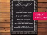Editable 30th Birthday Invitations 30th Birthday Party Invitation Thirty Birthday 30th
