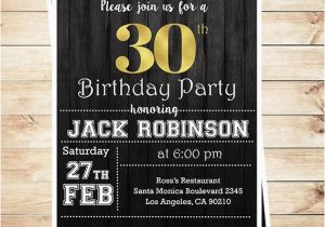 Editable 30th Birthday Invitations Surprise Party Gold Black Mens