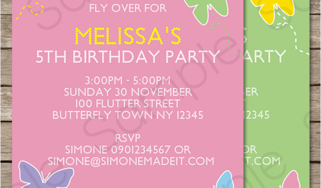 Editable Birthday Invitations Templates Free Butterfly Party