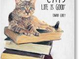 Edward Gorey Birthday Card Cat Quote by Edward Gorey Drawing by Taylan soyturk