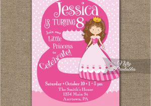 Eighth Birthday Invitation Wording 8th Pink Princess Nifty