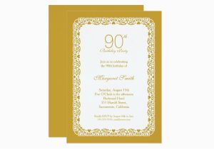 Elegant 90th Birthday Decorations Lace Golden Party Invitation Zazzle