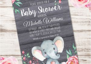Elephant Birthday Invitation Template Baby Shower Printable Edit With