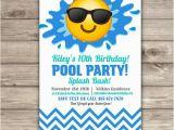 Emoji Birthday Card Template Emoji Pool Party Birthday Invitations Swim Party Beach Pool