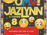 Emoji Birthday Card Template Emoji Smiley Face Birthday Invitation Custom Printable