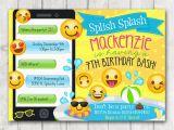 Emoji Birthday Card Template Printable Emoji Pool Party Party Invitation Happy Barn
