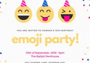 Emoji Birthday Card Template Purple Flowers Feminine 18th Party Invitation