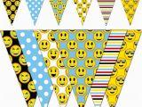 Emoji Happy Birthday Banner Printable Emoji Banner Smiley Printable Banner Emoji Party Pennant