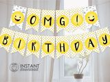Emoji Happy Birthday Banner Printable Printable Diy Emoji Party Banner Birthday Party Graduation