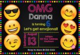 Emoticons Birthday Invitations Emoji Emoticon Birthday Party Invitations Personalized