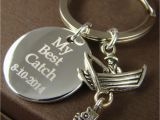 Engraved Birthday Gifts for Him Gift for Him Personalized Fishing Key Ring My Best Catch
