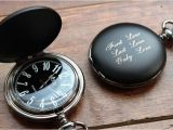 Engraved Birthday Gifts for Him Personalized Pocket Watch Black Matte Black and White