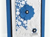 Etsy Birthday Cards for Her Handmade Birthday Card Royal Blue and Black Floral 2