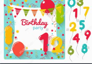 Evite Birthday Cards Vector Party Invitation Card Design Stock