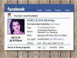 Facebook Birthday Invites Photo Personalised Facebook themed Birthday Invitations