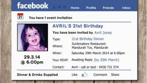 Facebook Birthday Invites Photo Personalised Facebook themed Birthday Invitations