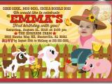 Farm First Birthday Invitations Barnyard Farm Animals 1st Birthday Invitations Di 270