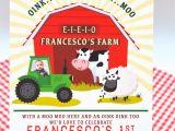 Farm First Birthday Invitations Birthday Invite Barnyard Bash Birthday Invitation