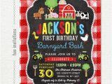 Farm First Birthday Invitations Farm First Birthday Invitation for Boys Barnyard 1st Birthday