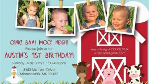 Farm First Birthday Invitations Farm Friends First Birthday Custom Photo Birthday Invitation