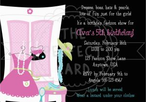 Fashion Show Birthday Party Invitations Fashion Show Dress Up Birthday Party Invitation