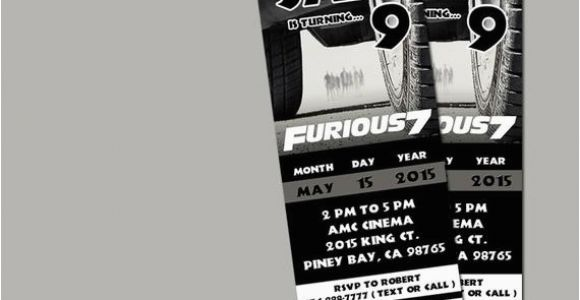 Fast Birthday Invitations Printable Fast and Furious 7 Movie Invitation Ticket by