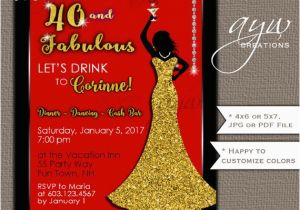 Female 50th Birthday Invitations Party Woman Bling Dress 40th Womans