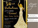 Female 50th Birthday Invitations 50th Birthday Party Invitations Woman Bling Dress 40th Womans