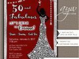 Female 50th Birthday Invitations 50th Birthday Party Invitations Woman Bling Dress Fifty