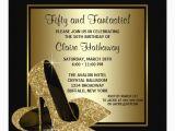 Female 50th Birthday Invitations Black Gold High Heels Womans Birthday Party Invitation