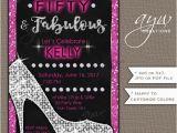 Female 50th Birthday Invitations Heels Birthday Party Invitations Woman Glam Printable