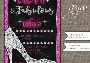 Female 50th Birthday Invitations Heels Party Woman Glam Printable