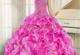 Fifteen Birthday Dresses Hot Pink Beaded and Ruffles Elegant Quinceanera Dresses