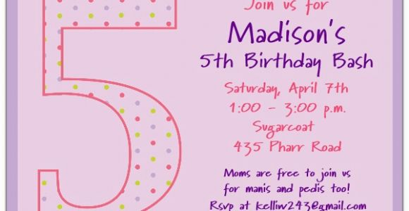 Fifth Birthday Party Invitation 5th Birthday Girl Dots Birthday Invitations Paperstyle