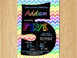 Fifth Birthday Party Invitation 5th Birthday Invitation Rainbow Chevron Pastel Fifth