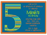 Fifth Birthday Party Invitation Birthday Boy Stripes 5th Birthday Invitations Paperstyle
