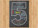 Fifth Birthday Party Invitation Chalkboard 5th Birthday Invitation Fifth Birthday Invite