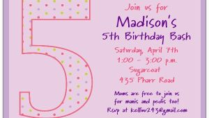 Fifth Birthday Party Invitation Wording 5th Birthday Girl Dots Birthday Invitations Paperstyle