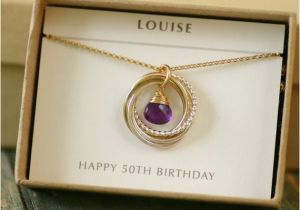 Fiftieth Birthday Gifts For Her 50th Gift Amethyst Necklace By