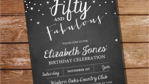 Fifty and Fabulous Birthday Invitations Fifty and Fabulous Chalkboard Birthday Invitation 40th 50th