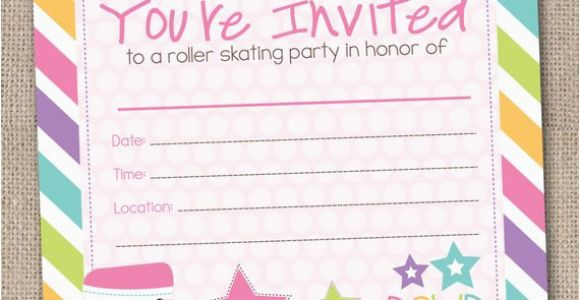 Fillable Birthday Invitations Free Fill In Roller Skating Party Invitations by