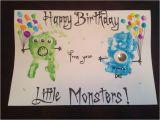 Fingerprint Birthday Cards Monster Handprint Birthday Card with Fingerprint Balloons