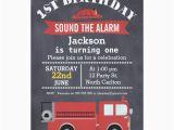 Fire Truck 1st Birthday Invitations Boys Chalkboard Fire Truck 1st Birthday Invitation Zazzle