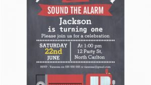 Fire Truck 1st Birthday Invitations Boys Chalkboard Fire Truck 1st Birthday Invitation Zazzle