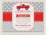 Fire Truck 1st Birthday Invitations Boys Firefighter Fireman Fire Truck Birthday Invitation