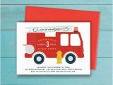 Fire Truck 1st Birthday Invitations Fire Truck Invitation Birthday Party Printable Boys Fire