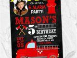 Fire Truck 1st Birthday Invitations Fireman Birthday Party Invitations Fire Truck Hero